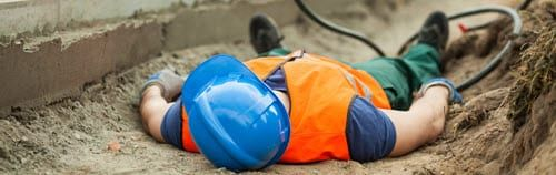 construction worker on the ground injured